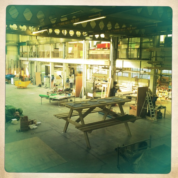 The bench in the workshop before installation
