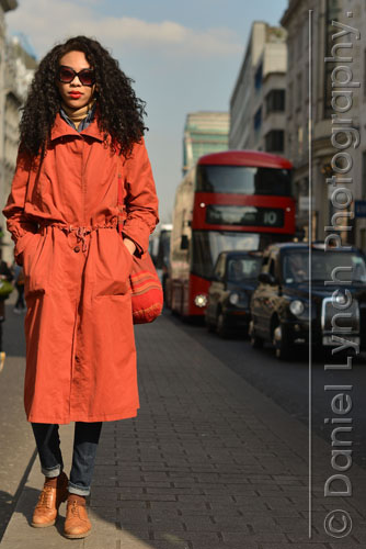 15/04/15. METRO STREET STYLE : TRENCHCOATS. NADINE, 23, A PHOTOGRAPHER FROM BROMLEY, KENT. Credit: Daniel Lynch. 07941 594 556. www.lynchpix.co.uk